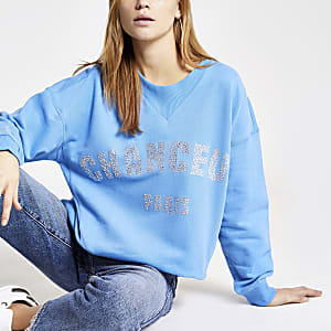Sweat bleu « Chanceux » à strass
