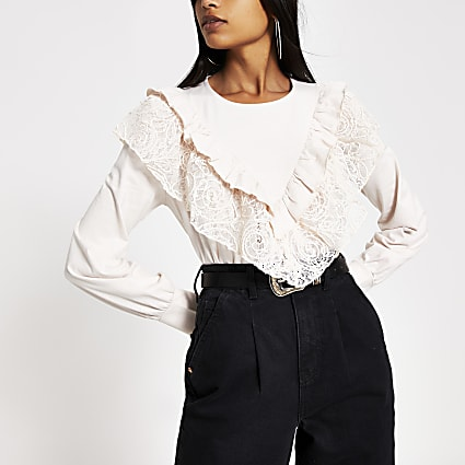 Pink corded lace frill long sleeve top