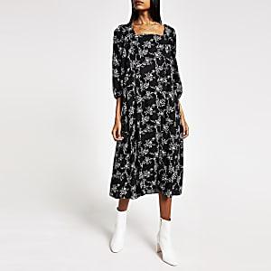 Schwarzes, langärmeliges Midi-Swing-Kleid mit Print