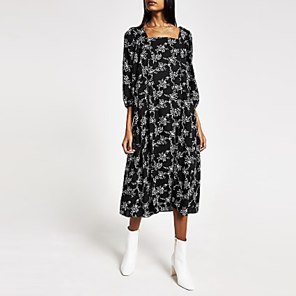 Black printed long sleeve midi swing dress