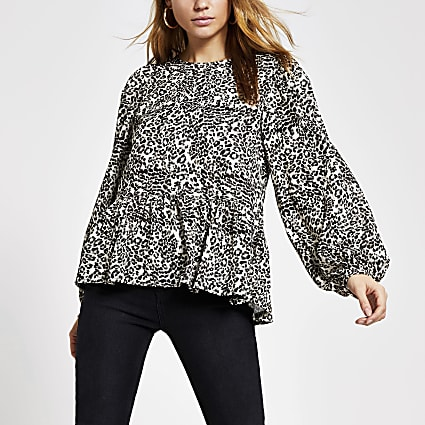 Beige animal printed long sleeve smock top