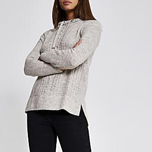 Zilverkleurige  gebreide kabeltrui hoodie met lange mouwen