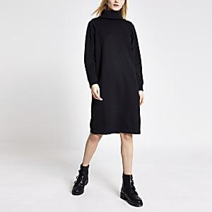 Schwarzes, langärmeliges Sweatshirt-Kleid mit Rollkragen