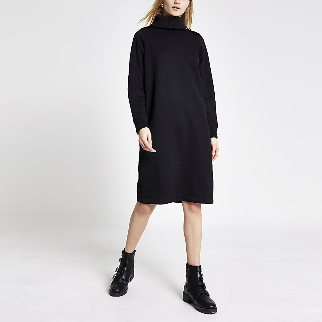 Zwarte trui-jurk met col en lange mouwen