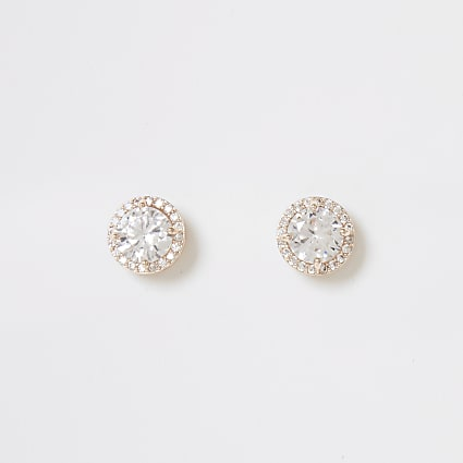 Rose gold diamante circle stud earrings