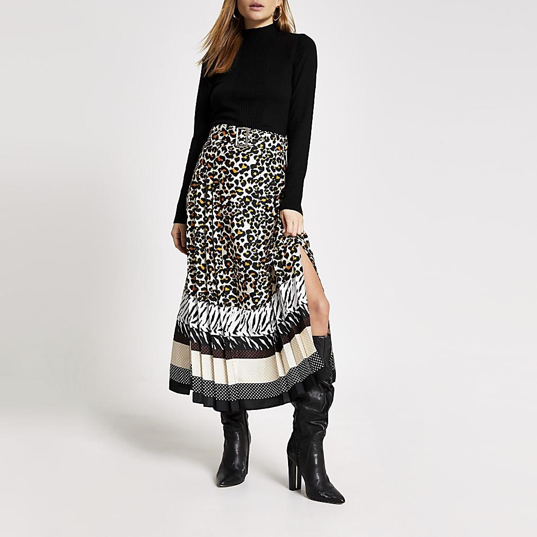 Beige animal printed pleated midi skirt