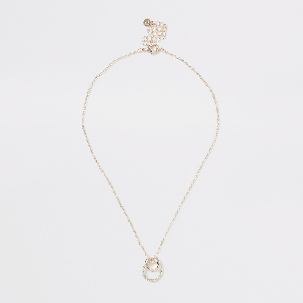 Rose gold interlinked diamante necklace
