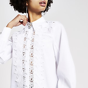 White lace diamante brooch shirt