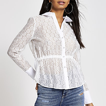 White broderie drawstring waist shirt