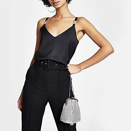 Black diamante embellished strap cami top