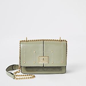 Green RI fold over cross body satchel bag