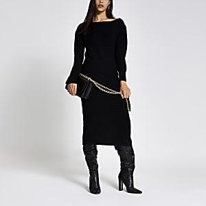 Zwarte gebreide midi-jurk met asymmetrische ritshals