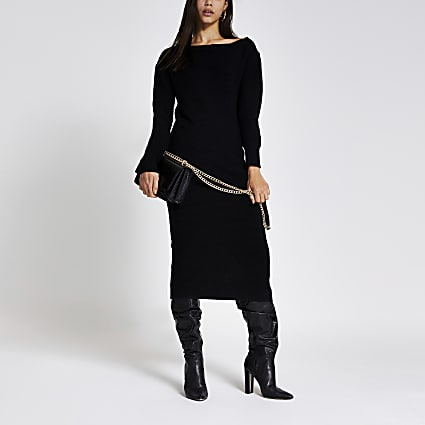 Black asymmetric zip neck knitted midi dress