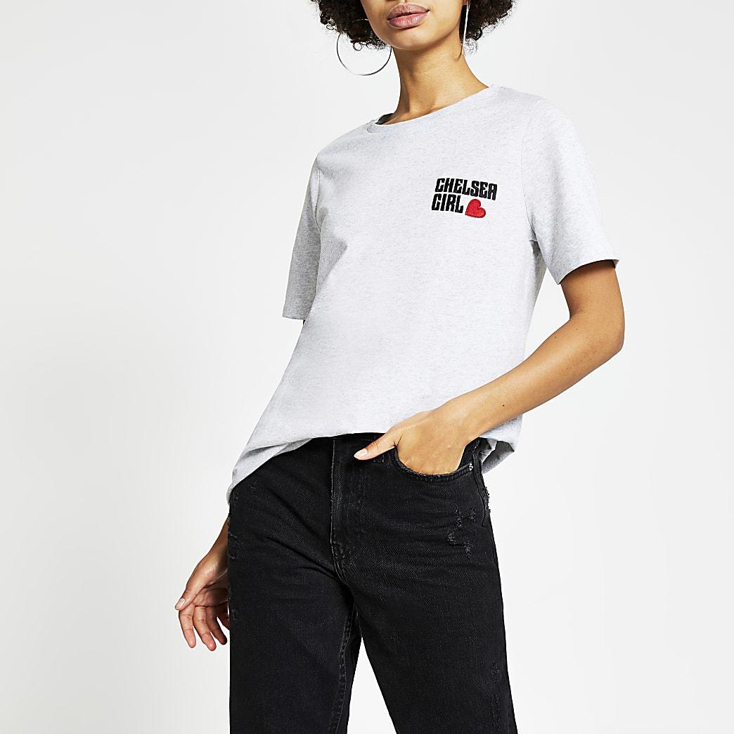 Grijs T-shirt met korte mouwen en Chelsea Girl-print