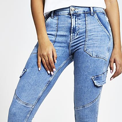 Blue utility Amelie mid rise skinny jeans