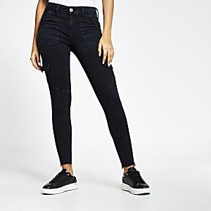 Zwarte skinny utility Amelie jeans met halfhoge taille