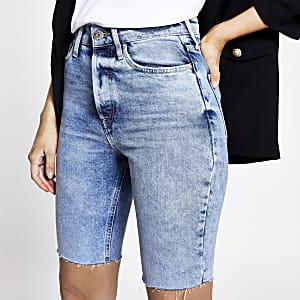 Shorts Mom longs en denimbleu