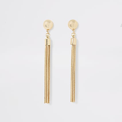 Gold colour stud tassel drop earrings