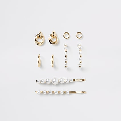 Gold pearl earring and hair clip multipack