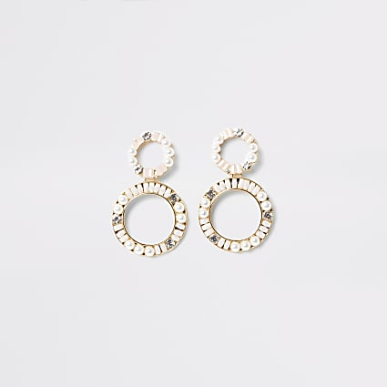 Gold colour embellished circle drop earrings