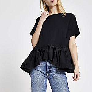 Zwart T-shirt met poplin peplum en korte mouwen