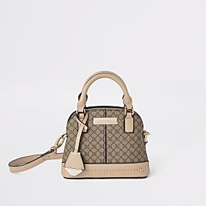 Mini sac à logo RI beige