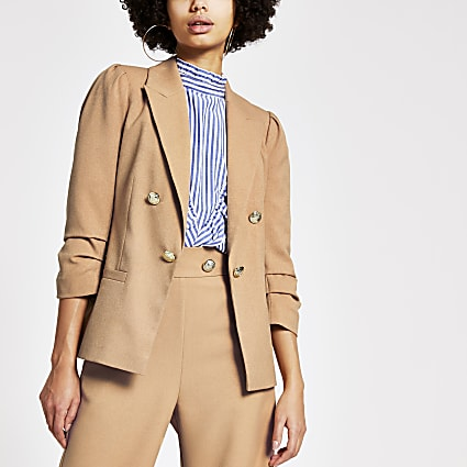 Beige puff sleeve button front blazer