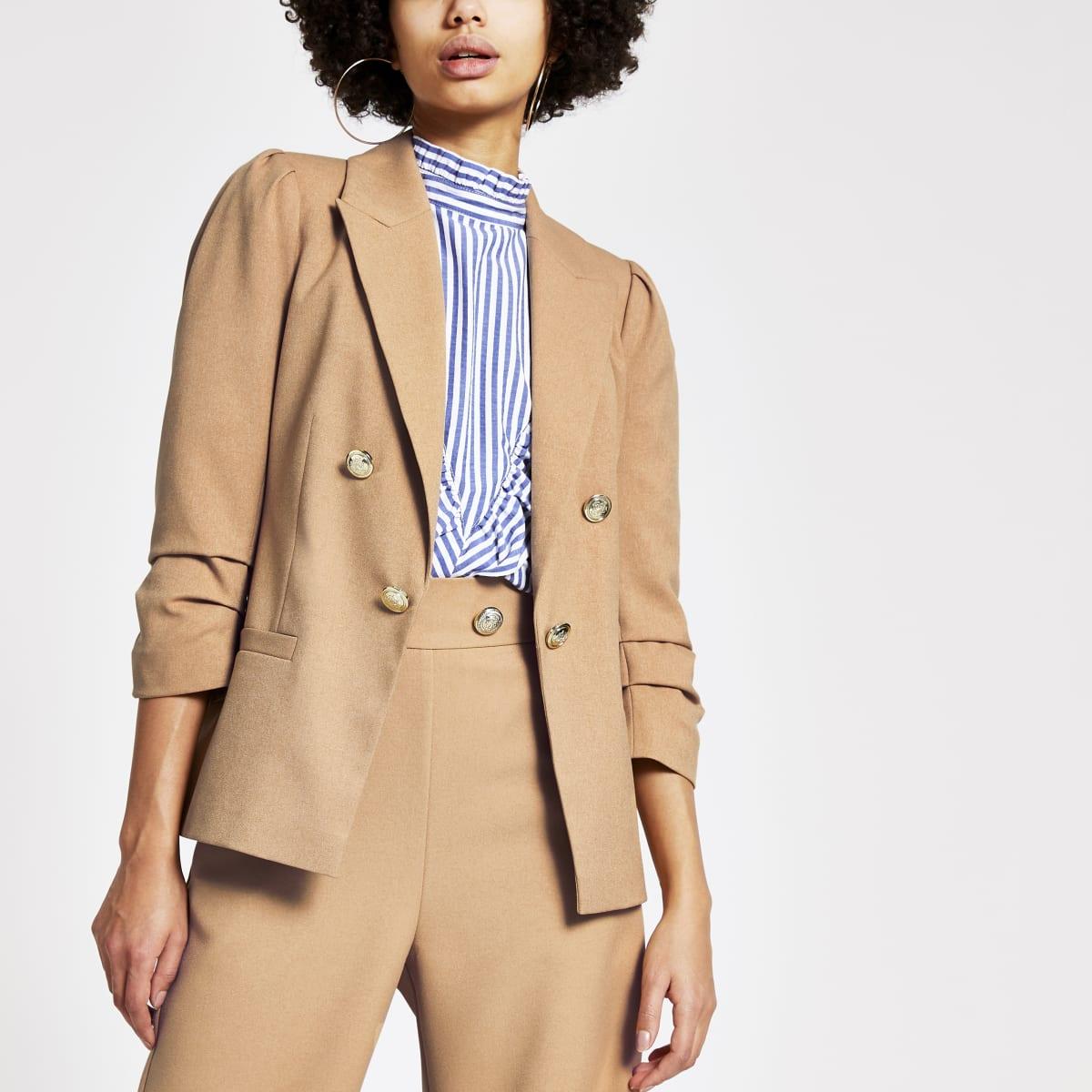 Beige puff sleeve button front blazer