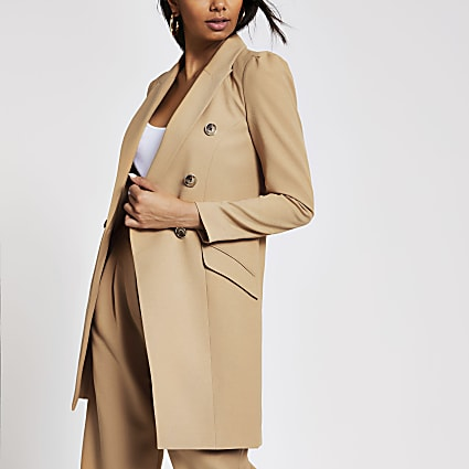 Beige double breasted longline blazer