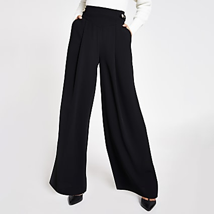Black belted tab side wide leg trousers