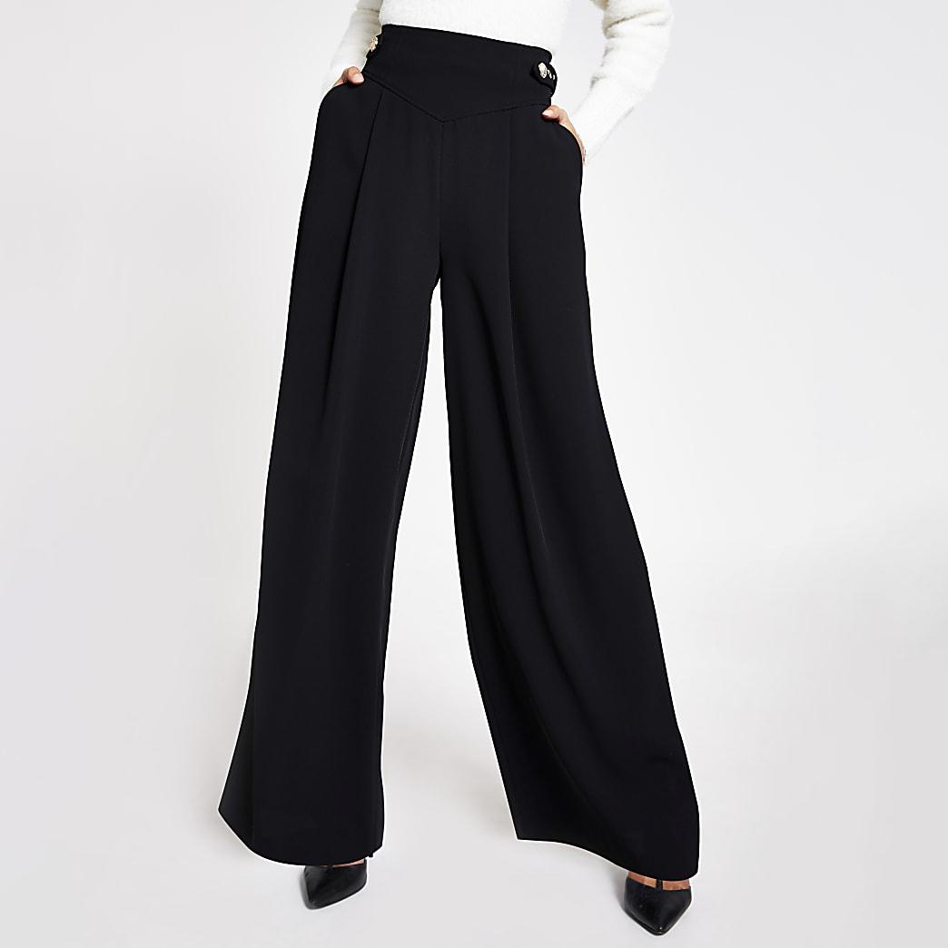 Black belted tab side wide leg trousers