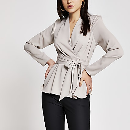 Grey long sleeve tie front blouse