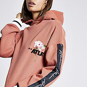 ATLR – Langärmeliger Hoodie in Orange mit Blumenprint
