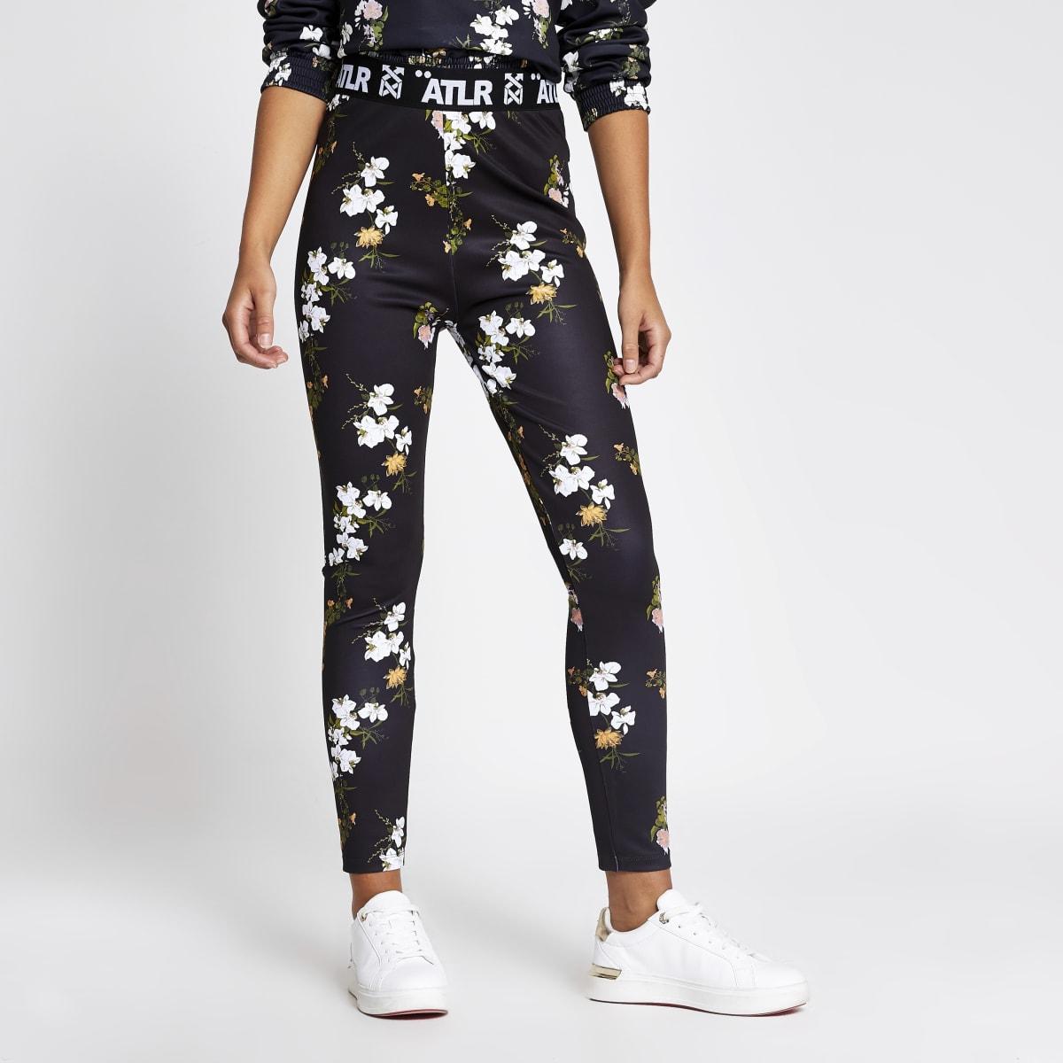 Zwarte elastische legging met ATLR-bloemenprint
