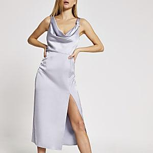 Lila Midi-Slip-Kleid mit Strassstern und Wasserfallkragen