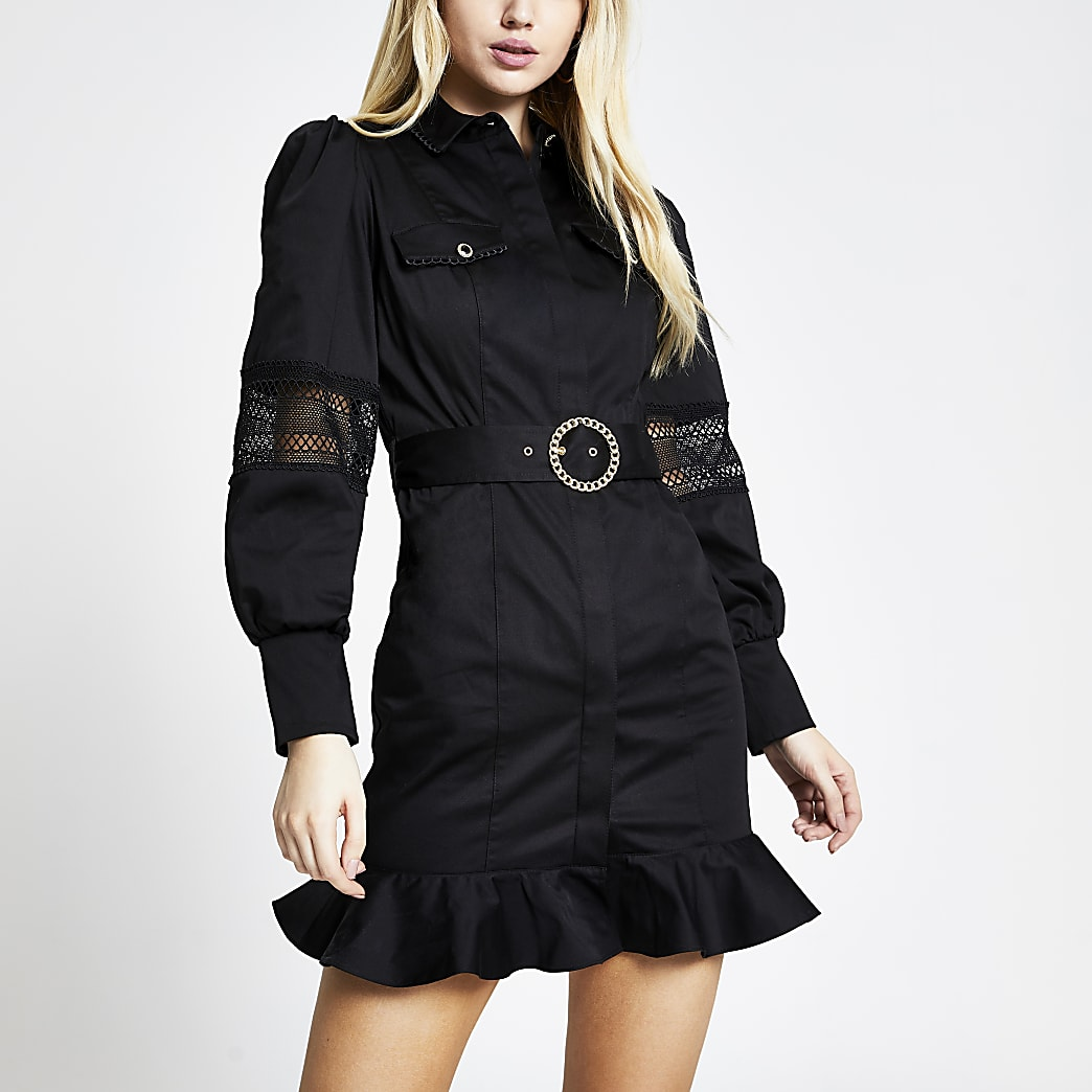 Black lace trim belted shirt mini dress