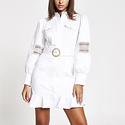 White lace trim belted shirt mini dress