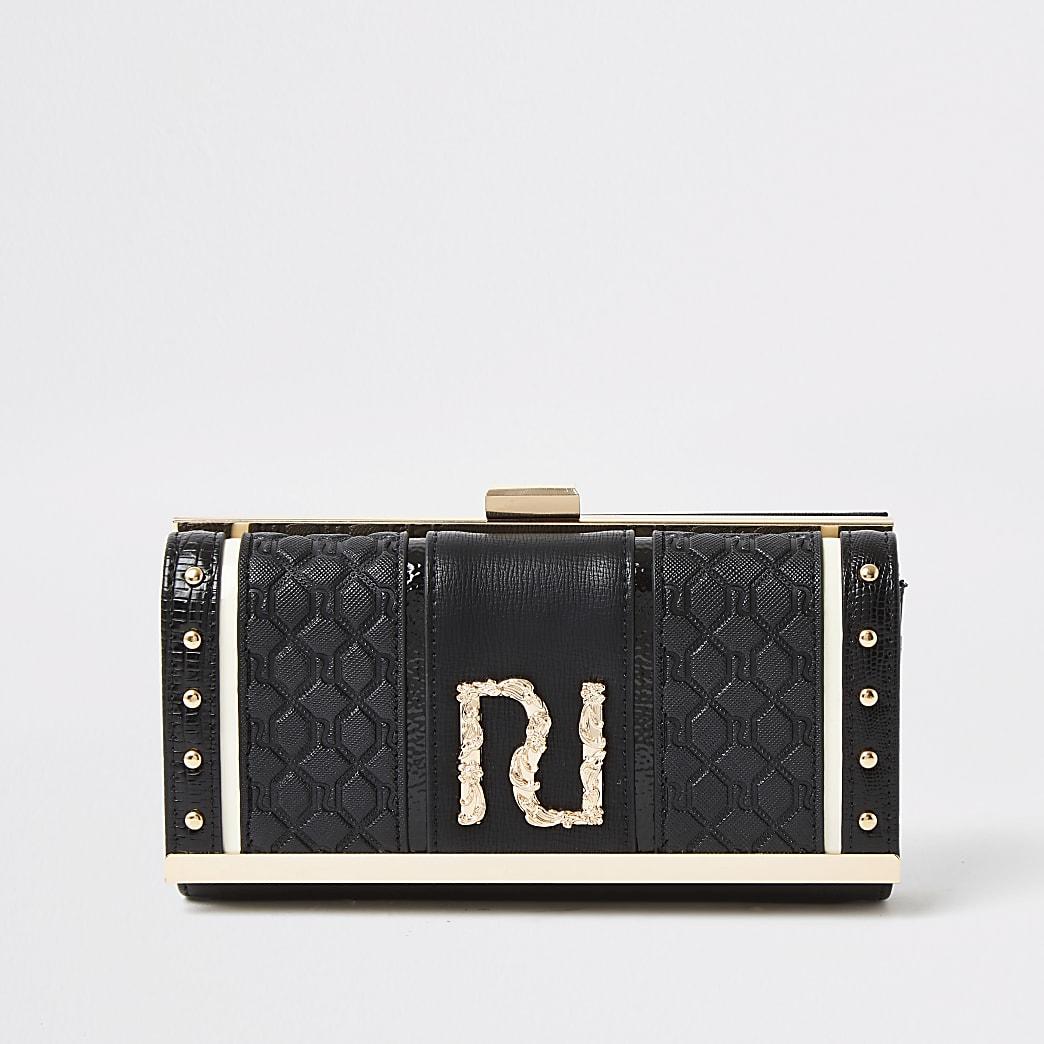 RI – Schwarze Geldbörse mit Clipverschluss und Prägung