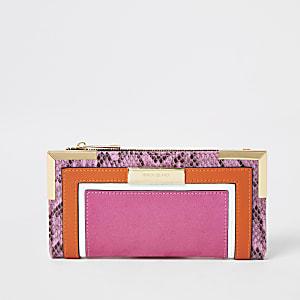 Portefeuille pliable colour block rose