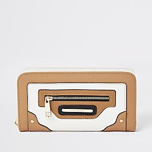 Portefeuille pliable zippé colour block marron