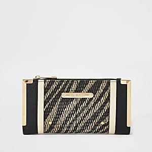Zwarte geweven uitvouwbare portemonnee met zebraprint