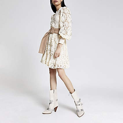 White crochet button front mini dress