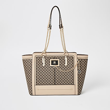 Dark beige RI monogram winged tote bag