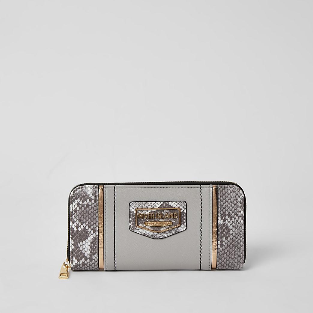 Grey snake print blocked zip around purse