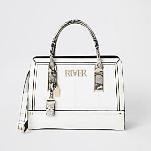 Witte schoudertas met slangenprint en 'River'-tekst