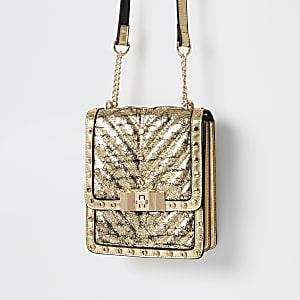 Goudkleurige vierkante crossbodytas met studs