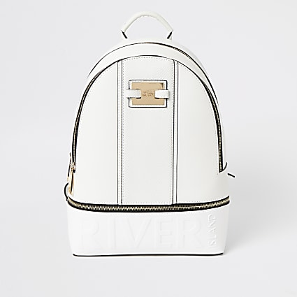 White 'River' embossed zip top backpack