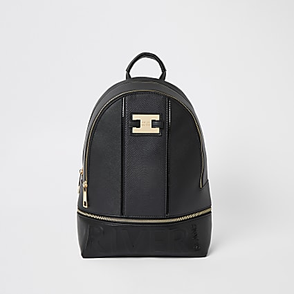 Black 'River' embossed zip top backpack