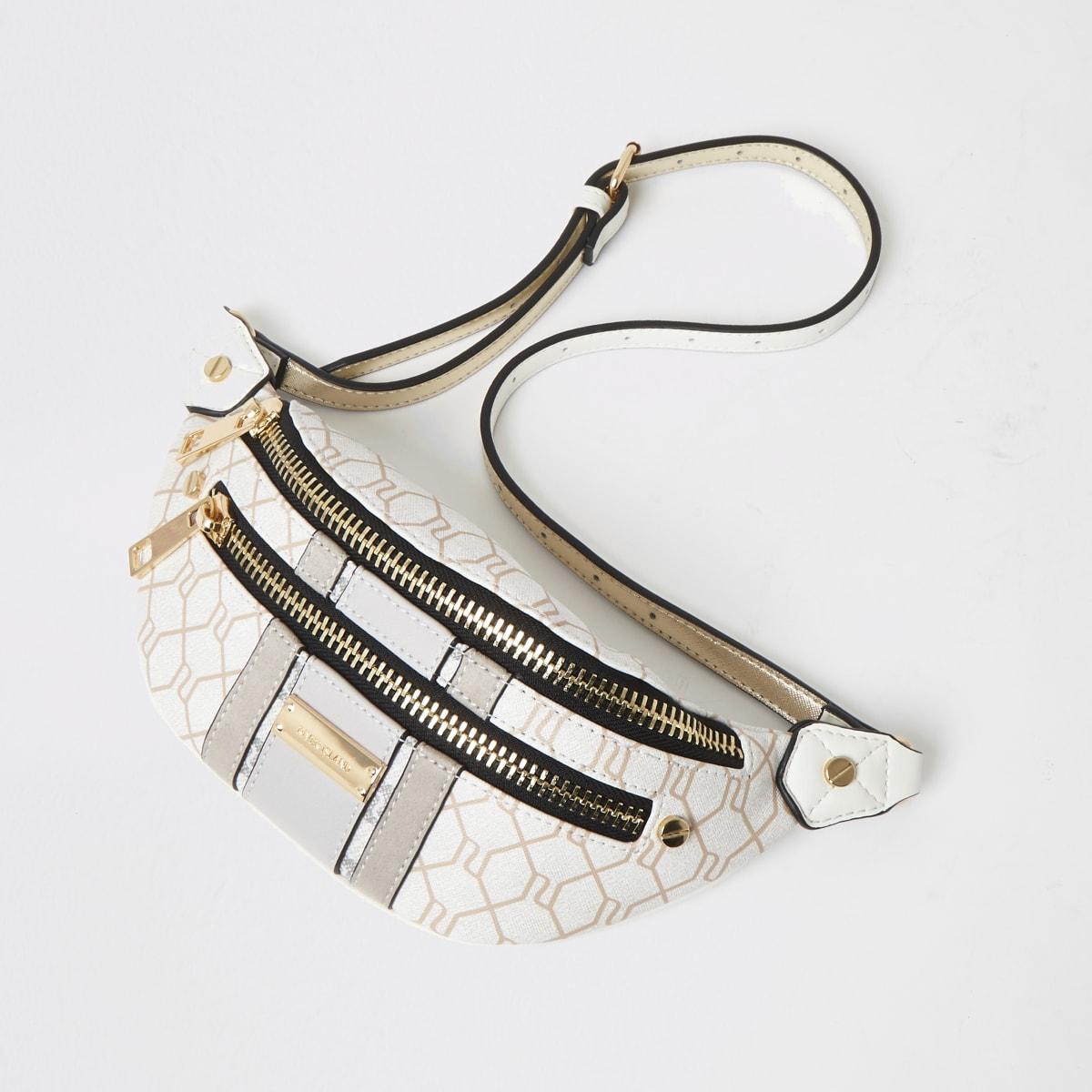 Grey RI monogram zip front bumbag
