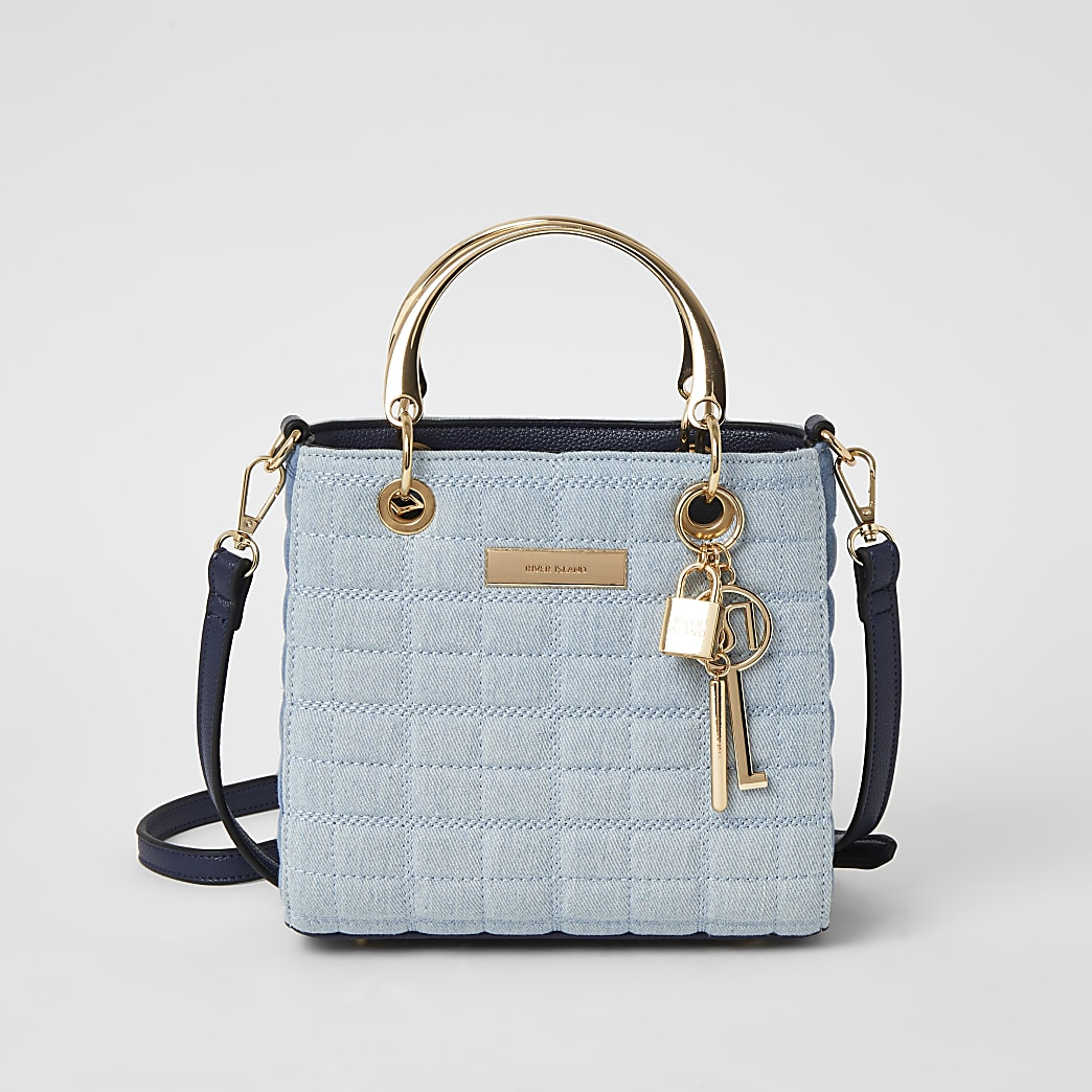 Blue denim quilted cross body tote bag